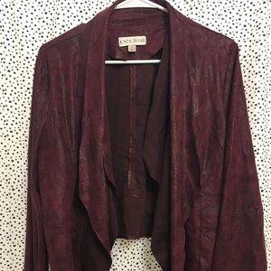 Lightweight burgundy faux leather jacket